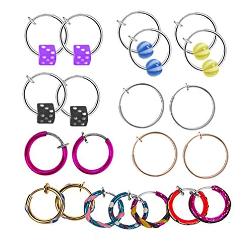 Fake Piercing Lot of 6 Pairs Non Pierced Kit Spring Hoop 12 Pieces of Fake Body Jewelry Reviews
